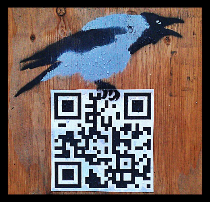 hooded crow stencil work qr code